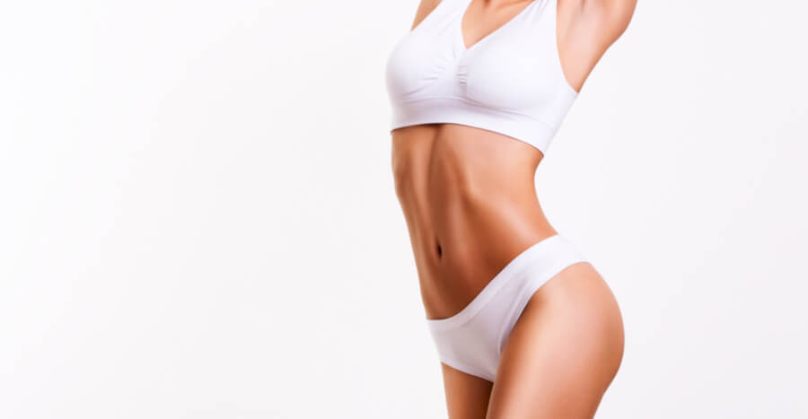 Woman with thin body in white