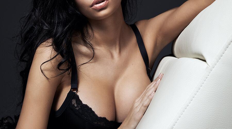 Woman in a black bra