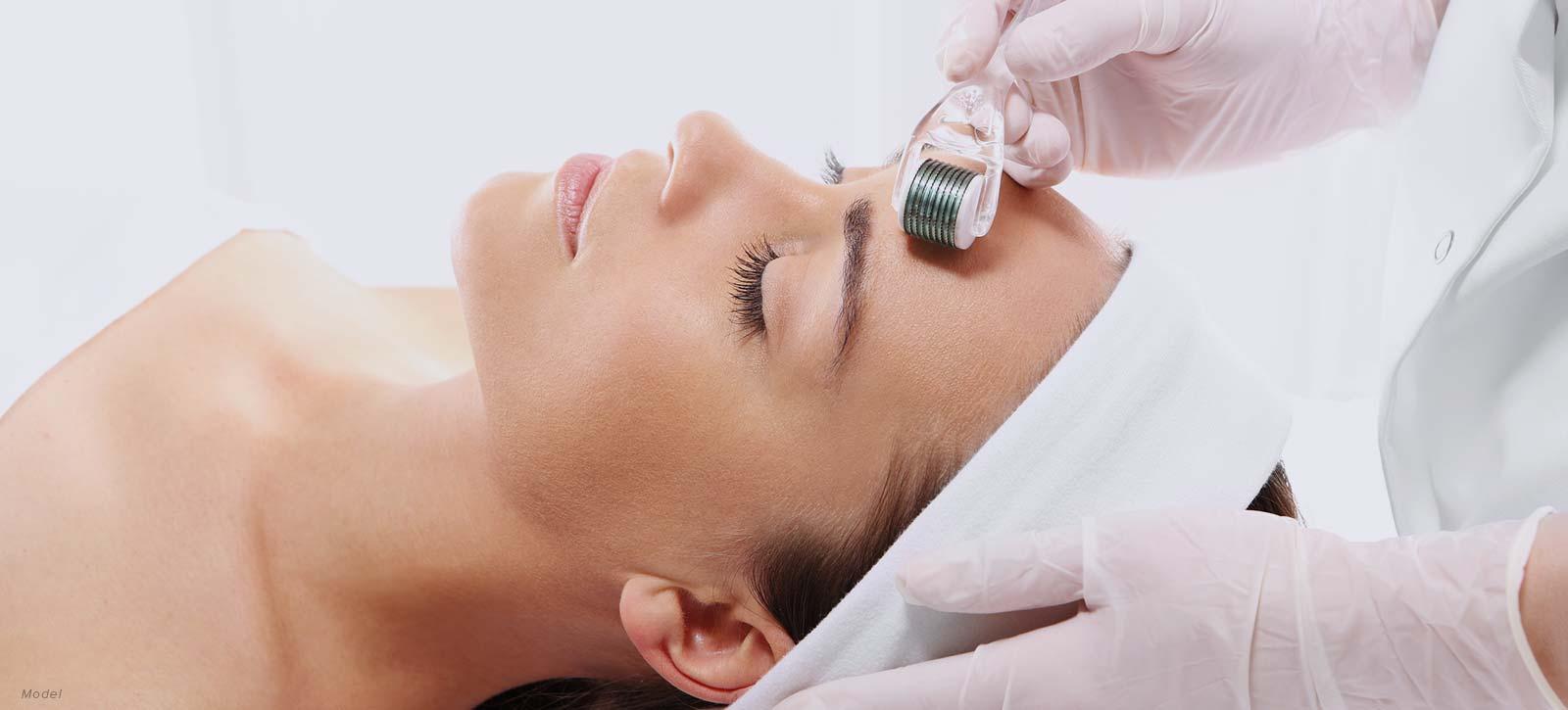 Woman getting skin treatment