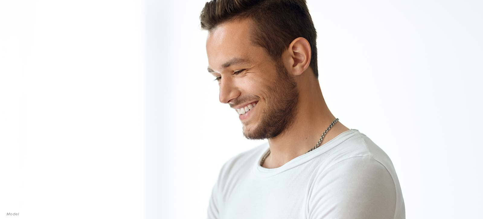 man's profile, smiling